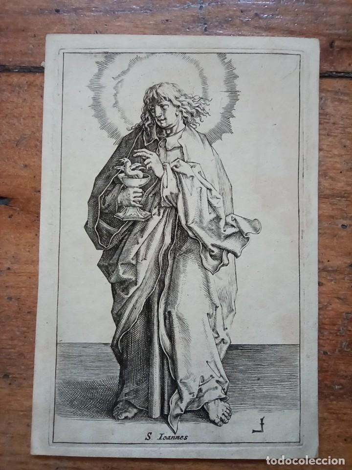 MARAVILLOSO Y RARÍSIMO GRABADO APÓSTOL JUAN, ORIGINAL 1610. SEGUIDOR VAN LEYDEN (Arte - Grabados - Antiguos hasta el siglo XVIII)
