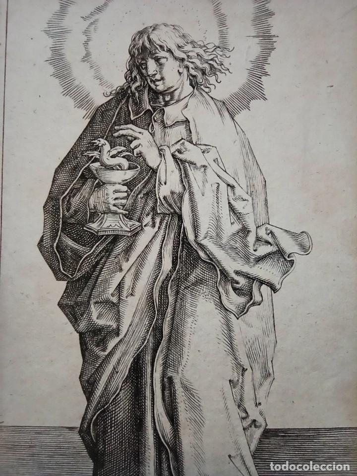 Arte: MARAVILLOSO Y RARÍSIMO GRABADO APÓSTOL JUAN, ORIGINAL 1610. SEGUIDOR VAN LEYDEN - Foto 2 - 264492234