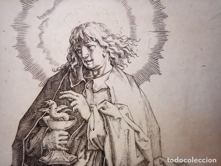 Arte: MARAVILLOSO Y RARÍSIMO GRABADO APÓSTOL JUAN, ORIGINAL 1610. SEGUIDOR VAN LEYDEN - Foto 3 - 264492234
