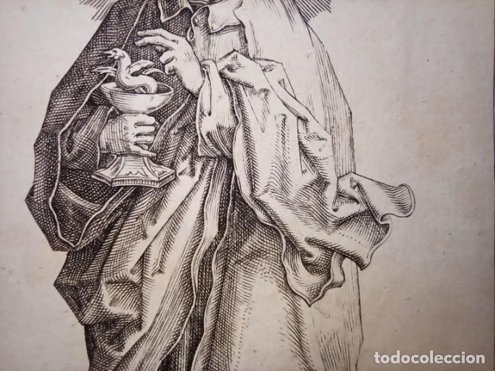 Arte: MARAVILLOSO Y RARÍSIMO GRABADO APÓSTOL JUAN, ORIGINAL 1610. SEGUIDOR VAN LEYDEN - Foto 4 - 264492234