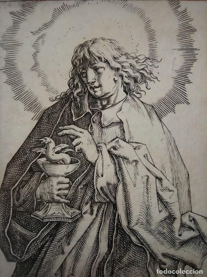 Arte: MARAVILLOSO Y RARÍSIMO GRABADO APÓSTOL JUAN, ORIGINAL 1610. SEGUIDOR VAN LEYDEN - Foto 6 - 264492234