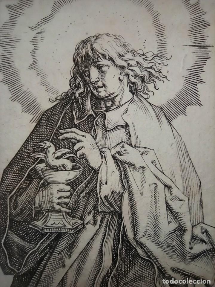 Arte: MARAVILLOSO Y RARÍSIMO GRABADO APÓSTOL JUAN, ORIGINAL 1610. SEGUIDOR VAN LEYDEN - Foto 7 - 264492234