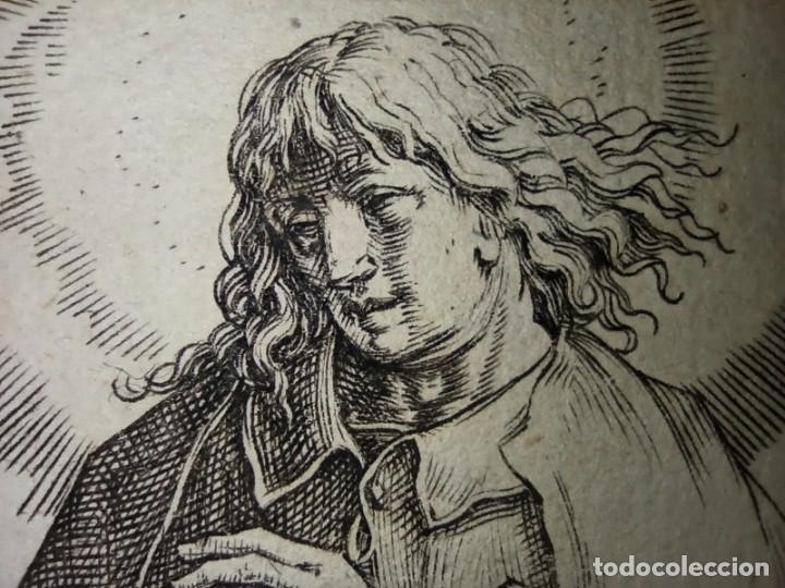 Arte: MARAVILLOSO Y RARÍSIMO GRABADO APÓSTOL JUAN, ORIGINAL 1610. SEGUIDOR VAN LEYDEN - Foto 8 - 264492234