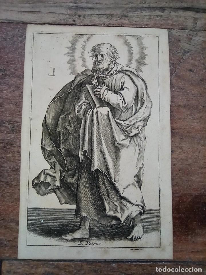 MARAVILLOSO Y RARÍSIMO GRABADO APÓSTOL PEDRO, ORIGINAL 1610.JAN MULLER. SEGUIDOR VAN LEYDEN (Arte - Grabados - Antiguos hasta el siglo XVIII)