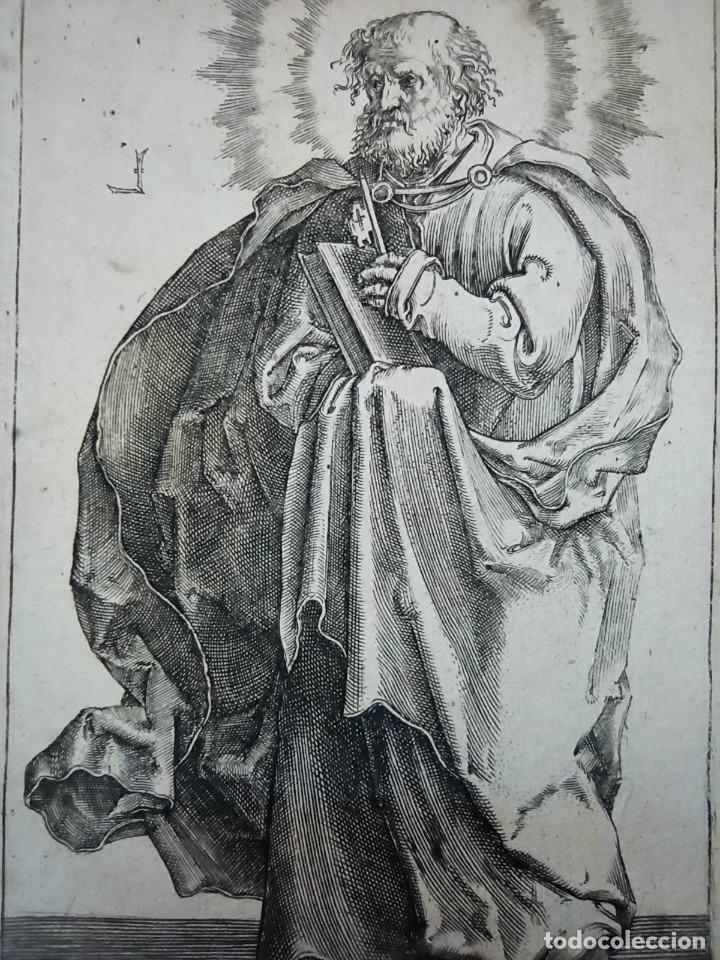 Arte: MARAVILLOSO Y RARÍSIMO GRABADO APÓSTOL PEDRO, ORIGINAL 1610.JAN MULLER. SEGUIDOR VAN LEYDEN - Foto 2 - 264492384