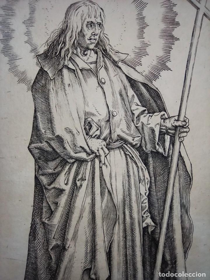 Arte: MARAVILLOSO Y RARÍSIMO GRABADO APÓSTOL FELIPE, ORIGINAL 1610.JAN MULLER. SEGUIDOR VAN LEYDEN - Foto 2 - 264492849