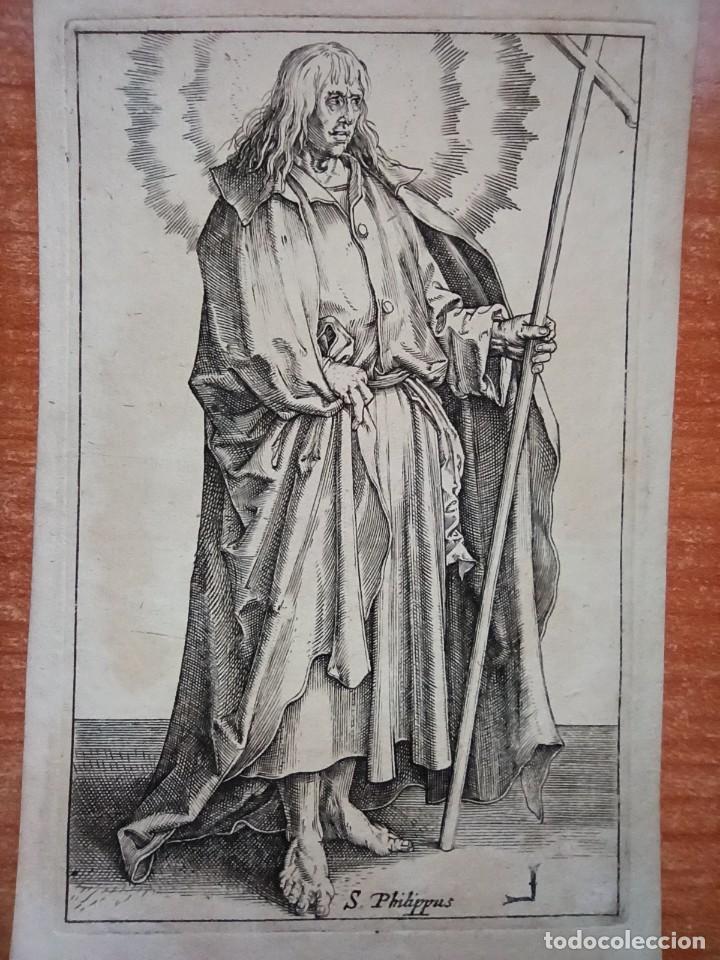 Arte: MARAVILLOSO Y RARÍSIMO GRABADO APÓSTOL FELIPE, ORIGINAL 1610.JAN MULLER. SEGUIDOR VAN LEYDEN - Foto 3 - 264492849