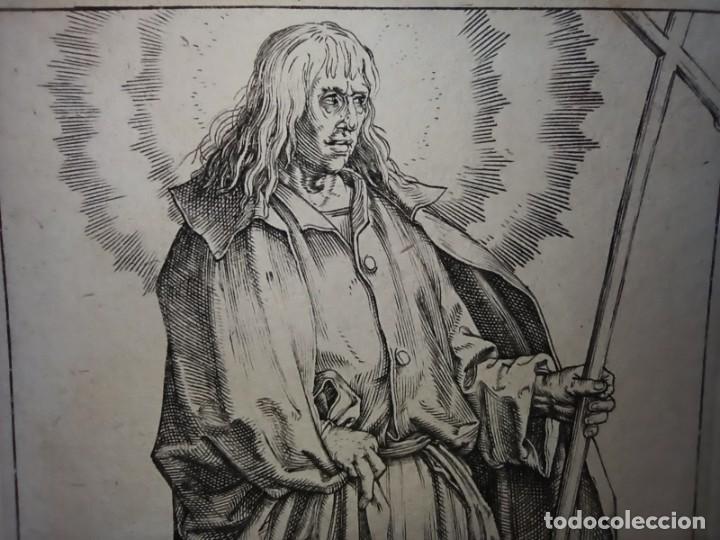 Arte: MARAVILLOSO Y RARÍSIMO GRABADO APÓSTOL FELIPE, ORIGINAL 1610.JAN MULLER. SEGUIDOR VAN LEYDEN - Foto 4 - 264492849