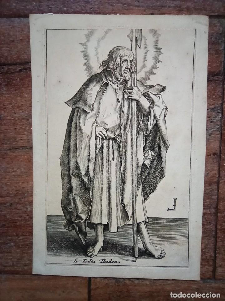 MARAVILLOSO Y RARÍSIMO GRABADO APÓSTOL JUDAS TADEO, ORIGINAL 1610.JAN MULLER. SEGUIDOR VAN LEYDEN (Arte - Grabados - Antiguos hasta el siglo XVIII)