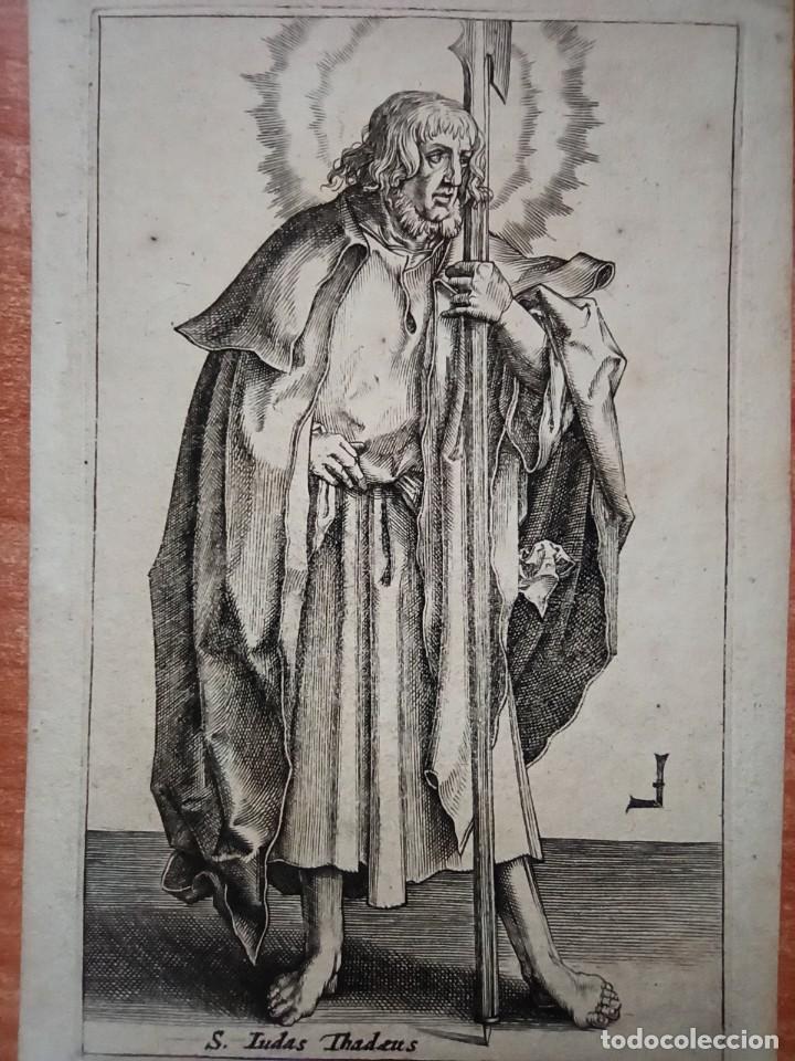 Arte: MARAVILLOSO Y RARÍSIMO GRABADO APÓSTOL JUDAS TADEO, ORIGINAL 1610.JAN MULLER. SEGUIDOR VAN LEYDEN - Foto 2 - 264493549
