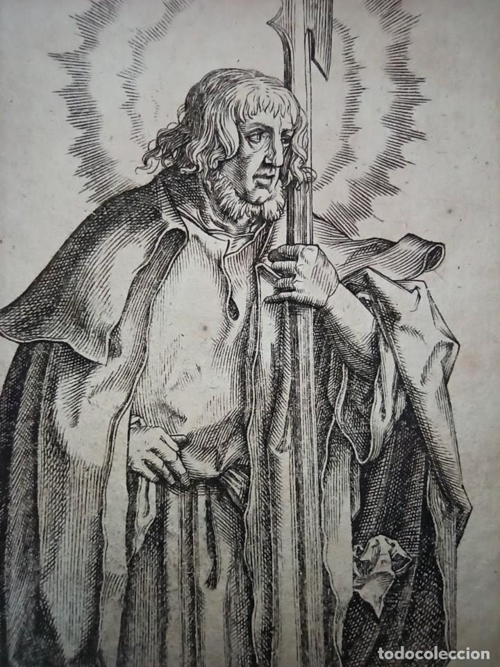 Arte: MARAVILLOSO Y RARÍSIMO GRABADO APÓSTOL JUDAS TADEO, ORIGINAL 1610.JAN MULLER. SEGUIDOR VAN LEYDEN - Foto 3 - 264493549