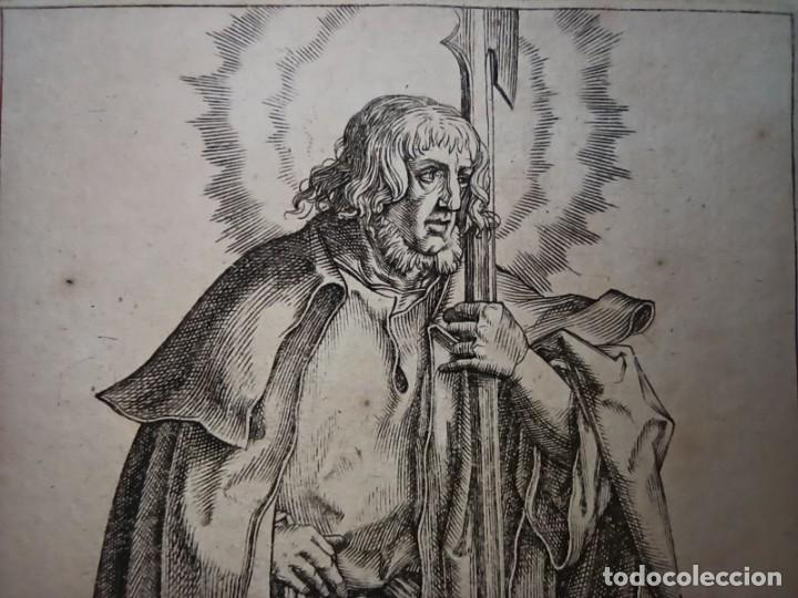 Arte: MARAVILLOSO Y RARÍSIMO GRABADO APÓSTOL JUDAS TADEO, ORIGINAL 1610.JAN MULLER. SEGUIDOR VAN LEYDEN - Foto 4 - 264493549