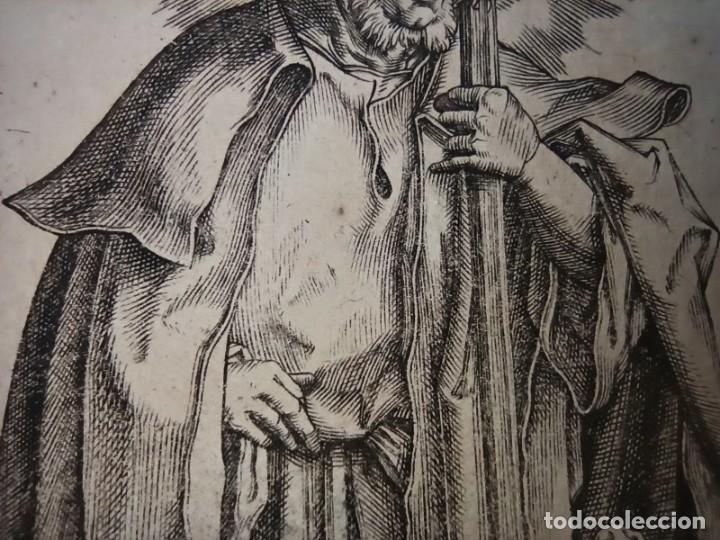 Arte: MARAVILLOSO Y RARÍSIMO GRABADO APÓSTOL JUDAS TADEO, ORIGINAL 1610.JAN MULLER. SEGUIDOR VAN LEYDEN - Foto 10 - 264493549