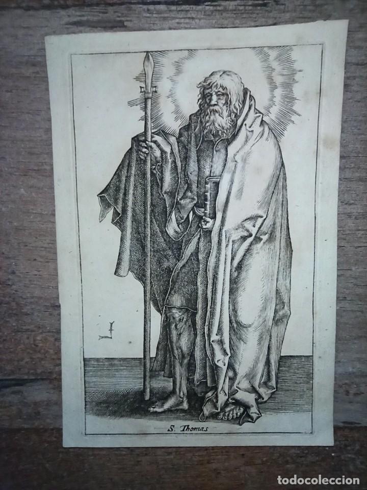 MARAVILLOSO Y RARÍSIMO GRABADO APÓSTOL TOMÁS, ORIGINAL 1610.JAN MULLER. SEGUIDOR VAN LEYDEN (Arte - Grabados - Antiguos hasta el siglo XVIII)
