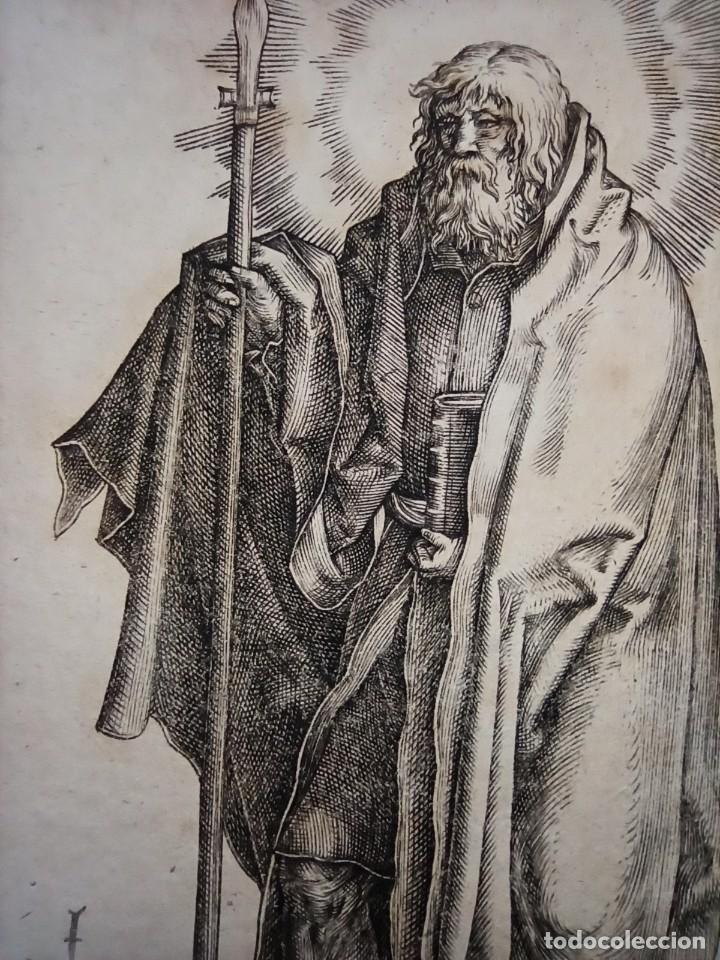 Arte: MARAVILLOSO Y RARÍSIMO GRABADO APÓSTOL TOMÁS, ORIGINAL 1610.JAN MULLER. SEGUIDOR VAN LEYDEN - Foto 2 - 264493714