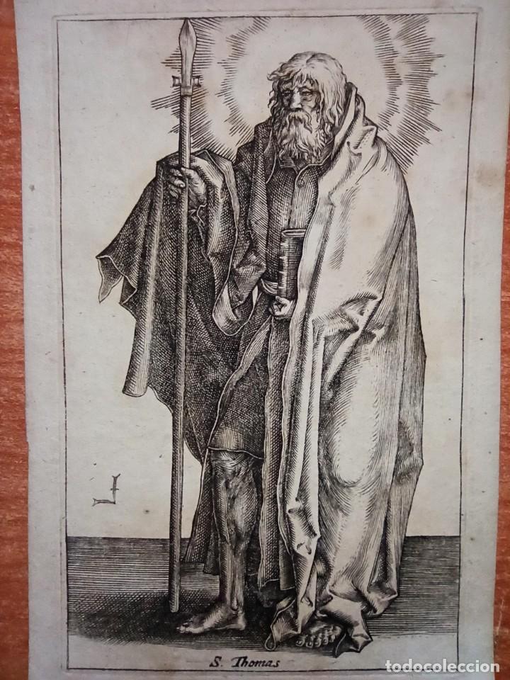 Arte: MARAVILLOSO Y RARÍSIMO GRABADO APÓSTOL TOMÁS, ORIGINAL 1610.JAN MULLER. SEGUIDOR VAN LEYDEN - Foto 3 - 264493714