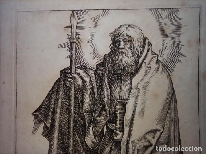 Arte: MARAVILLOSO Y RARÍSIMO GRABADO APÓSTOL TOMÁS, ORIGINAL 1610.JAN MULLER. SEGUIDOR VAN LEYDEN - Foto 4 - 264493714