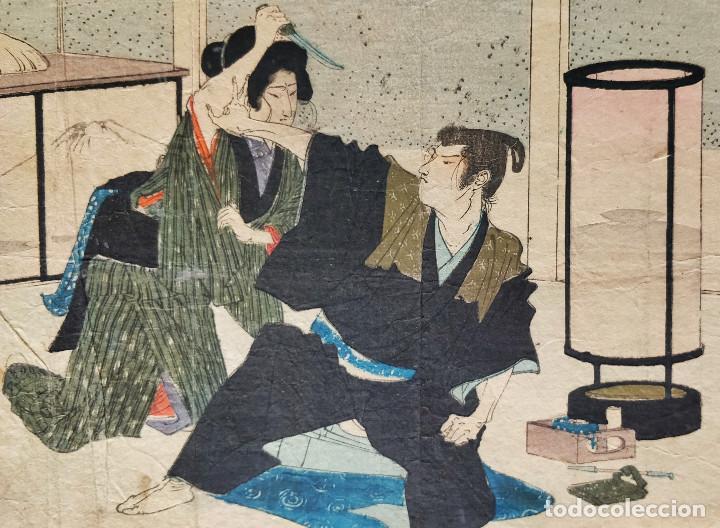EXCELENTE GRABADO JAPONÉS DEL SIGLO XIX, GEISHA ASESINANDO A UN SAMURAI, XILOGRAFÍA KUCHIE (Arte - Grabados - Modernos siglo XIX)