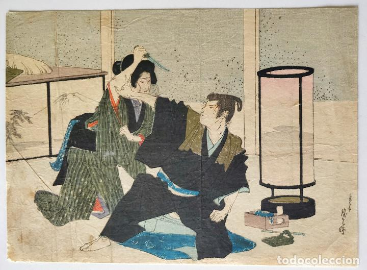 Arte: Excelente grabado japonés del siglo XIX, geisha asesinando a un samurai, xilografía Kuchie - Foto 2 - 264837909