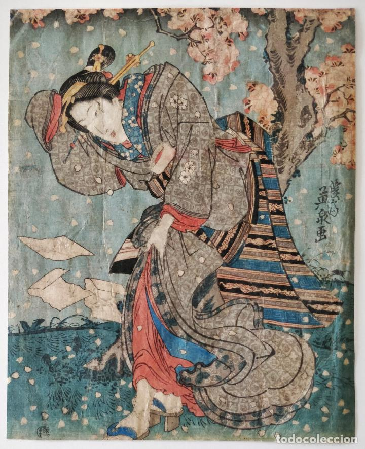 EXCELENTE GRABADO JAPONÉS ORIGINAL DEL MAESTRO KUNISADA, SIGLO XIX, CIRCA 1850, FLOR CEREZO, GEISHA (Arte - Grabados - Modernos siglo XIX)