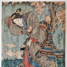 Arte: EXCELENTE GRABADO JAPONÉS ORIGINAL DEL MAESTRO KUNISADA, SIGLO XIX, CIRCA 1850, FLOR CEREZO, GEISHA. Lote 265504194