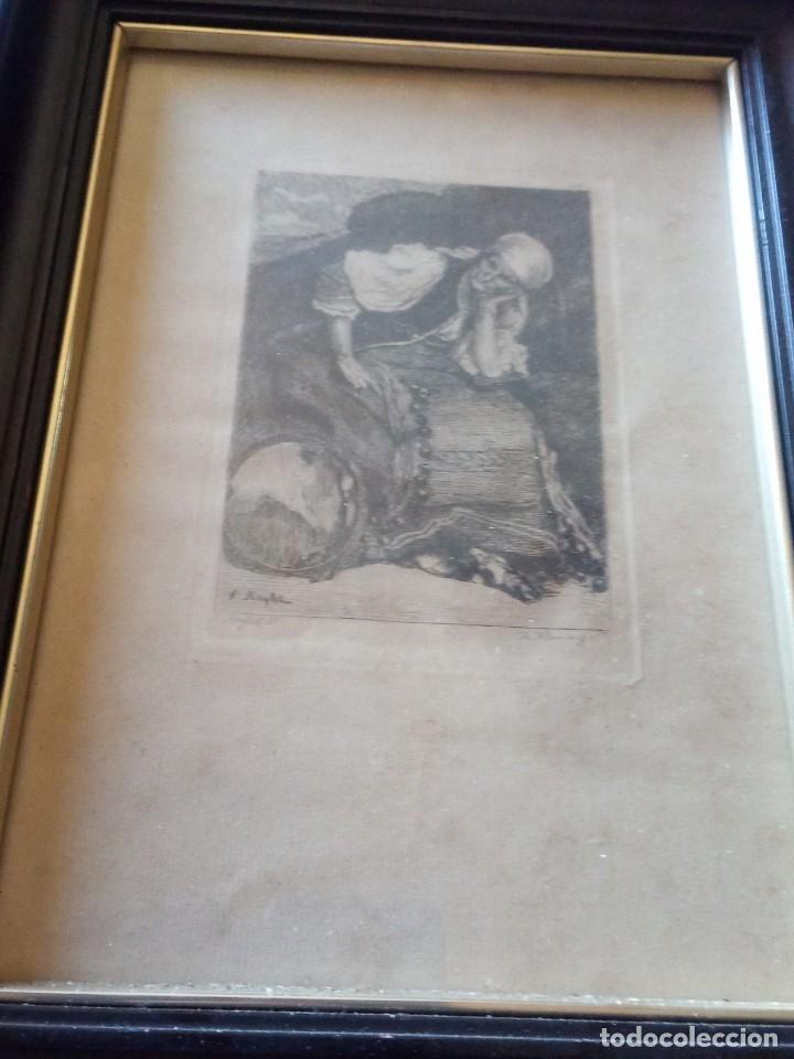 Arte: ~~~~ ANTIGUO GRABADO LA BOHEMIENNE, FIRMADO FERDINAND ROYBET 1840 - 1920, MIDE 32 X 25 CM. ~~~~ - Foto 3 - 265794609