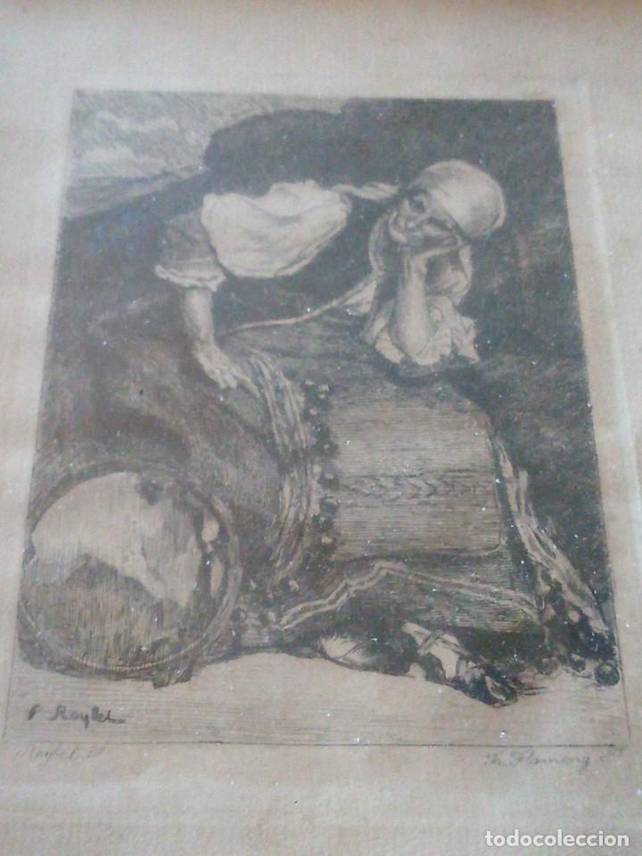 Arte: ~~~~ ANTIGUO GRABADO LA BOHEMIENNE, FIRMADO FERDINAND ROYBET 1840 - 1920, MIDE 32 X 25 CM. ~~~~ - Foto 5 - 265794609