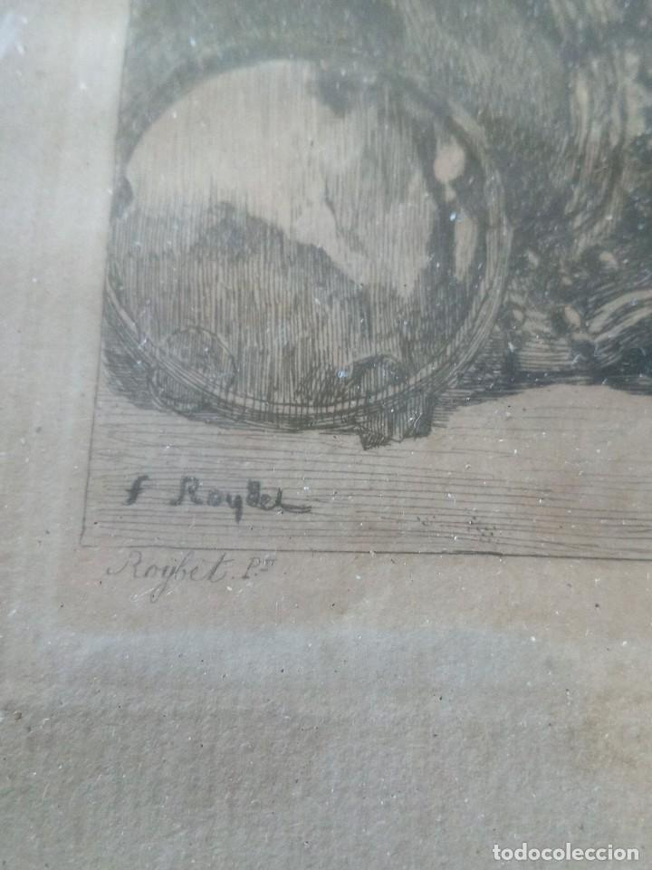 Arte: ~~~~ ANTIGUO GRABADO LA BOHEMIENNE, FIRMADO FERDINAND ROYBET 1840 - 1920, MIDE 32 X 25 CM. ~~~~ - Foto 6 - 265794609