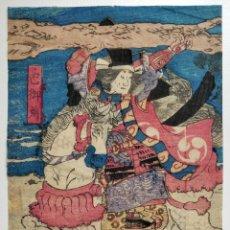 Arte: MAGNÍFICO GRABADO JAPONÉS ORIGINAL DE FINALES SIGLO XVIII, CIRCA 1780, SAMURAI A CABALLO, MUY RARO. Lote 266862454