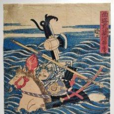 Arte: MAGNÍFICO GRABADO JAPONÉS ORIGINAL DE FINALES SIGLO XVIII, CIRCA 1780, SAMURAI A CABALLO, MUY RARO. Lote 266865554