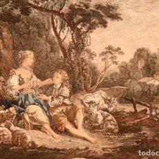 Arte: FRANÇOIS BOUCHER - AGUAFUERTE ILUMINADO A MANO - C. 1730. Lote 267078014