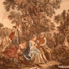 Arte: NICOLAS LANCRET - AGUAFUERTE ILUMINADO A MANO - C. 1720. Lote 267078144