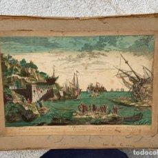 Arte: GRABADO VISTA OPTICA COLOREADA ISLA Y PUERTO DE MARRUECOS EN BARBARIA S XVIII 40X55CMS. Lote 267238594