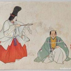 Arte: INTERESANTE GRABADO JAPONÉS ORIGINAL, ESCENA TEATRAL NŌGAKU, GRAN CALIDAD, XILOGRAFÍA, UKIYOE. Lote 267379889