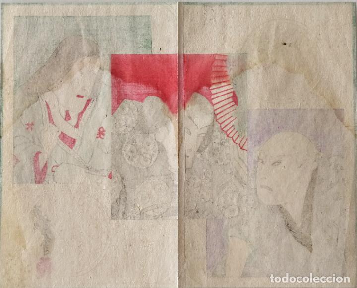 Arte: Excelente grabado japonés original maestro Yoshiiku, siglo XIX, escena kabuki, ukiyoe, circa 1860 - Foto 2 - 267381364