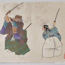 Arte: INTERESANTE GRABADO JAPONÉS ORIGINAL, ESCENA TEATRAL NŌGAKU, CALIDAD, XILOGRAFÍA, UKIYOE, RARO. Lote 267382834