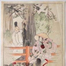 Arte: MAGISTRAL GRABADO JAPONÉS ORIGINAL DEL SIGLO XIX, CIRCA 1880, TIERNA ESCENA GEISHA CON SU HIJA. Lote 267773209