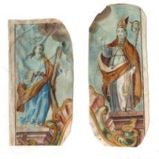 Arte: LOTE DE 2 GRABADOS RELIGIOSOS COLOREADOS A MANO. SIGLO XVIII. SOBRE VITELA. Lote 268287524