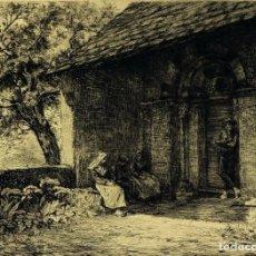 "Arte: AGUAFUERTE, PAUL LAFOND (1847-1918) ""ERMITA"" BÉARN - PAIS VASCO. DEDICADO A D. IGNACIO DE ZULOAGA.. Lote 268307429"