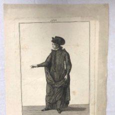 Arte: GRABADO CALCOGRAFICO ESTUDIANTE MANTEISTA. Nº 58. MANUEL DE LA CRUZ DEL. C. 1790. Lote 268322234
