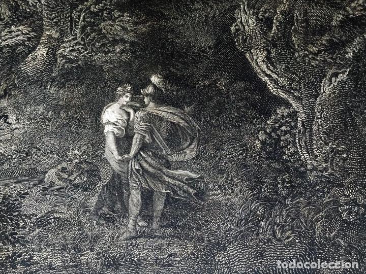 Arte: DIDONE ED ENEA RIFUGIATTI NELL ANTRO. ANTONIO REGONA. GRABADO SOBRE PAPEL. ITALIA. XVIII-XIX - Foto 13 - 268693519