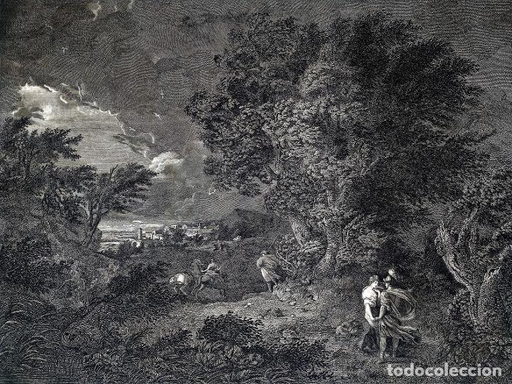 DIDONE ED ENEA RIFUGIATTI NELL ANTRO. ANTONIO REGONA. GRABADO SOBRE PAPEL. ITALIA. XVIII-XIX (Arte - Grabados - Antiguos hasta el siglo XVIII)