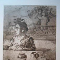 Arte: MONIQUE DE ROUX (BOULOGNE-BILLANCOURT FRANCIA 1946) GRABADO 32X24 PAPEL 50X38 FIRMA LÁPIZ Y /300, CR. Lote 268872294