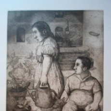 Arte: MONIQUE DE ROUX (BOULOGNE-BILLANCOURT FRANCIA 1946) GRABADO 32X24 PAPEL 50X38 FIRMA LÁPIZ Y /300, CR. Lote 268872429