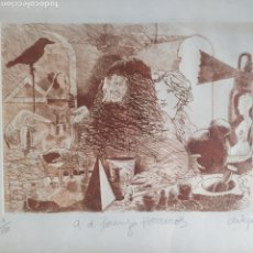 Arte: GRABADO ORIGINAL DE FRANCESC ARTIGAU SEGUÍ ( BARCELONA 1948) FIRMADO A LÁPIZ, NUMERADO Y DEDICADO. Lote 268877369