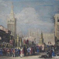 Arte: SEVILLA, PROCESIÓN, CATEDRÁL, GRABADO POR MEYER, 1835, SEVILLA. Lote 268917609