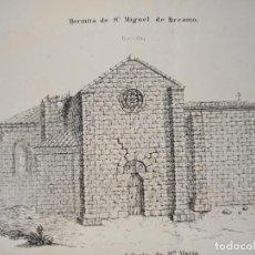 Arte: ESPLÉNDIDO GRABADO ARQUITECTURA,ERMITA SAN MIGUEL BREAMO, CORUÑA, VALLE PAVONA, ORIGINAL MADRID,1878. Lote 268985799