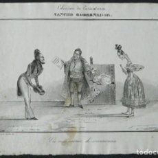 "Arte: LITOGRAFÍA CARICATURA ""MATRIMONIO DE CONVENIENCIA"". Lote 269046333"