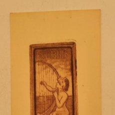 Arte: GRABADO DE ALEXANDRE DE RIQUER (1856-1920) DE 1903, EX LIBRIS. 15,5X6,5 CM. Lote 269098373