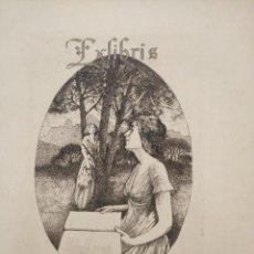 Arte: GRABADO DE ALEXANDRE DE RIQUER (1856-1920) DE 1913, EX LIBRIS PARA ANTON DALMAU. 27,5X21,2 CM.. Lote 269197513